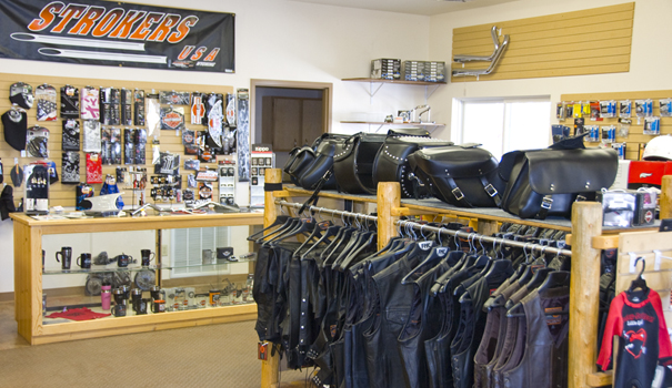 Leather Coats, Vests, Pants, Gloves and headgear for sale at Strokers USA in Lander